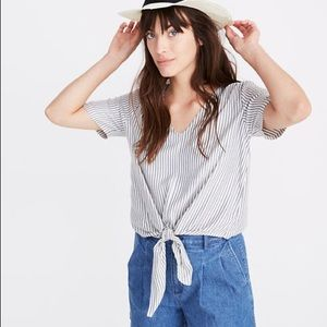 Madewell Petite Novel Tie-Front Top in Stripe